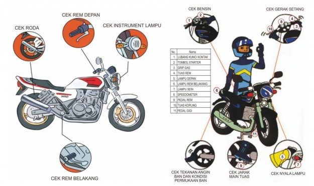 pengecekan sepeda motor sebelum berkendara