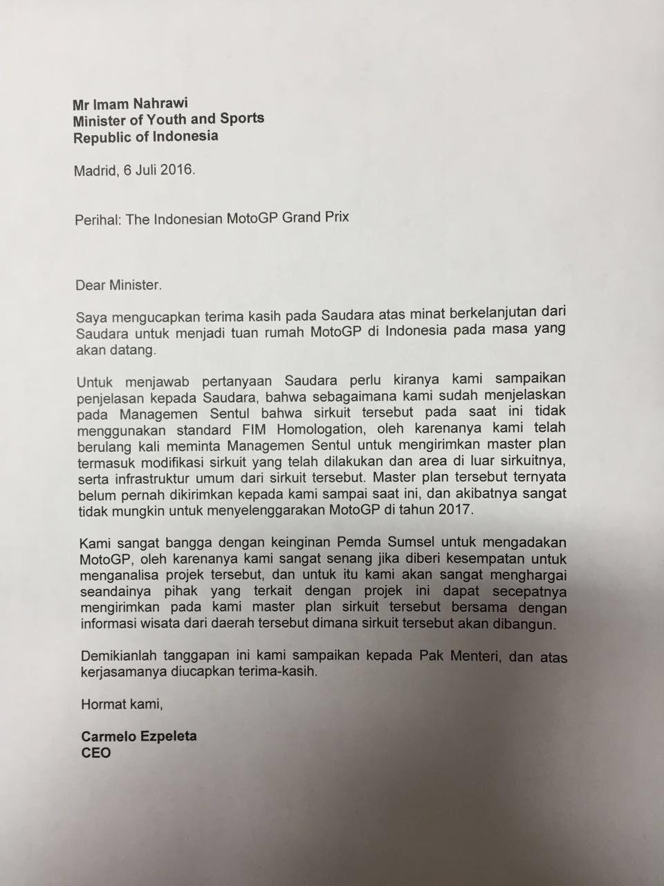 MotoGP 2017 di Indonesia Gagal Tayang, Dorna Menilai Sentul Belum Layak!