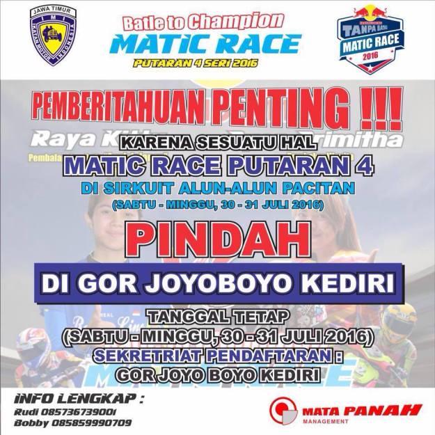 Urung di Gelar di Pacitan, Matic Race Seri 4 Merapat ke Kediri Lagi Gaesss!!