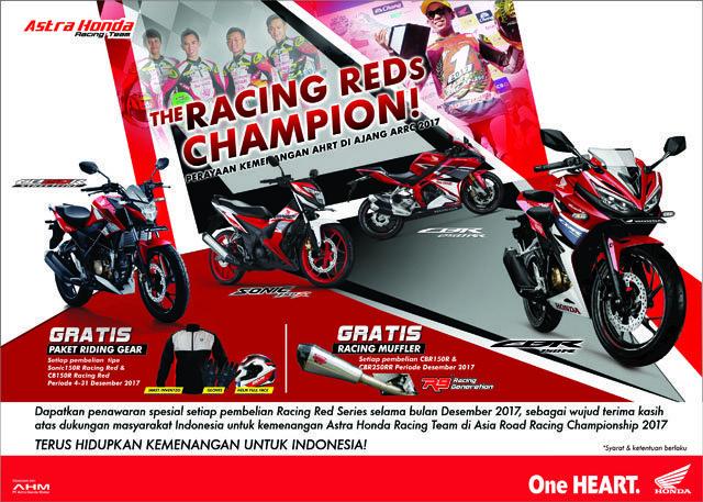 Rayakan Kemenangan AHRT di Kancah Balap ASIA, Honda Beri Program Khusus Untuk Pembelian Motor Berlivery Racing Red Series
