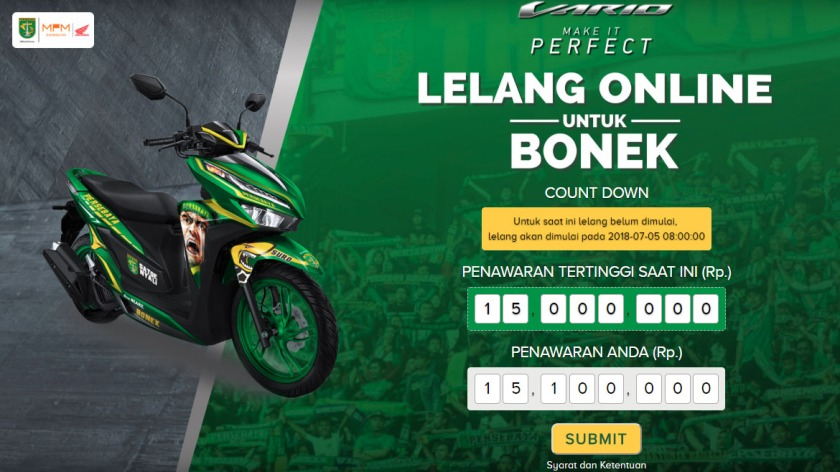 Lelang All New Vario 150 Tahun 2018 Special Edition Persebaya