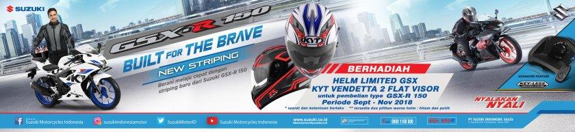 Makin Gaya Dengan Suzuki, Kini Beli GSX-R150 Berhadiah Langsung Helm fullface KYT Vendetta2 Flat Visor