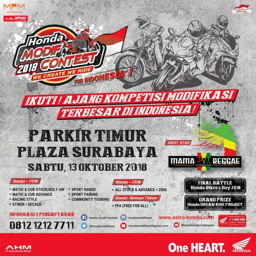 Honda Modif Contest 2018 Sapa Warga Jatim, Catat Tanggalnya Mas Bro!