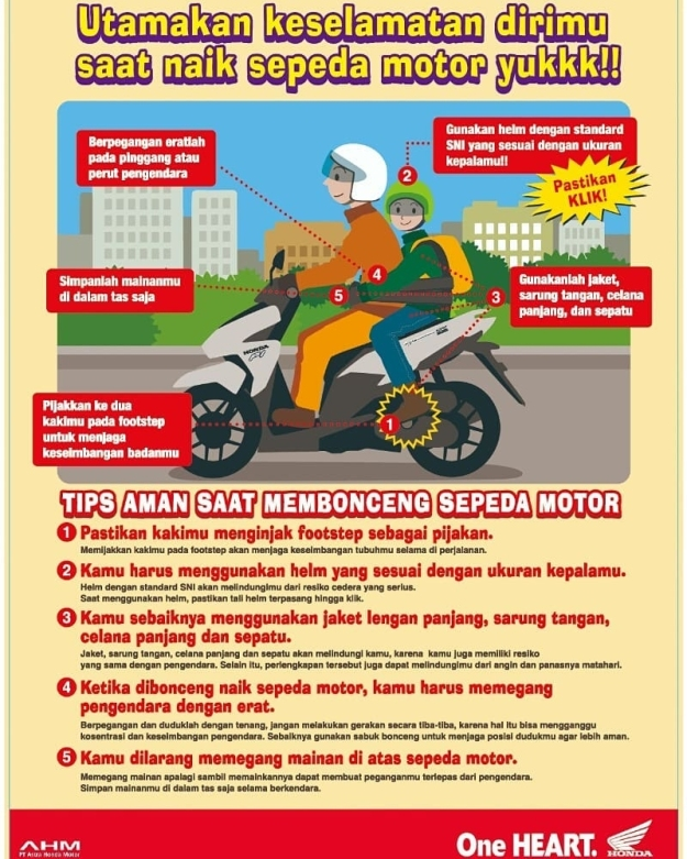 Ini 5 Tips Aman Saat Membonceng Sepeda Motor Dari Honda