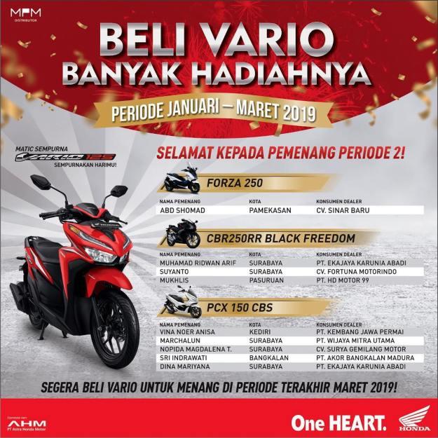 Ini Daftar Pemenang Tahap 2 Undian Beli Vario Banyak Hadiah MPM Honda Jatim. (2)