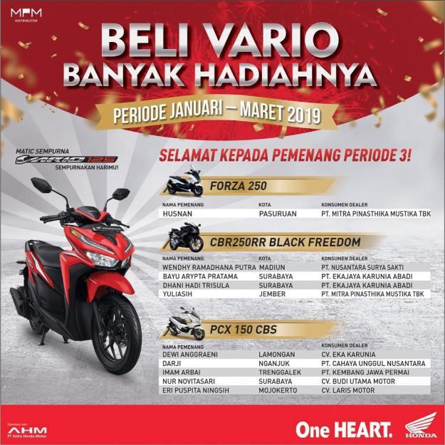 Daftar Pemenang Tahap 3 Undian Beli Vario Banyak Hadiah MPM Honda Jatim (2)