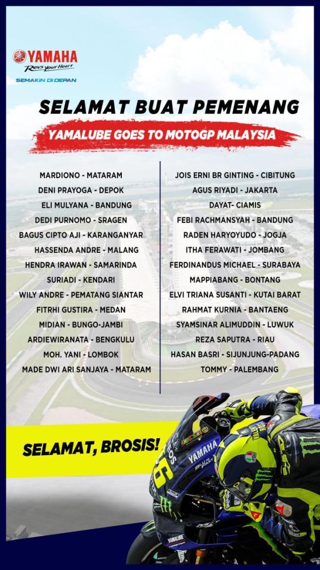 Daftar Pemenang Yamalube Nontong Langsung MotoGP Sepang 2019 (1)